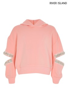 River Island Coral Split Sleeve Sweater
