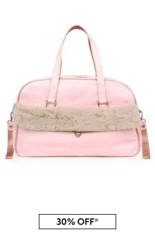 Pink Faux Fur Trim Changing Bag