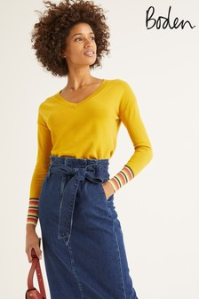 Boden Yellow Cassandra V-Neck Jumper