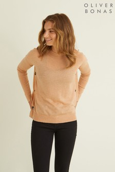 Oliver Bonas Betty Camel Button Side Jumper