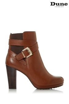Dune London Orrion Tan Leather Buckle Elastic Ankle Boots