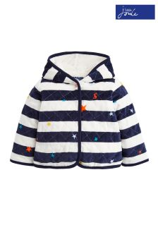 Joules Navy Star Stripe Velour Faux Fur Lined Jacket