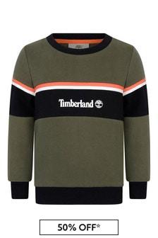 Boys Khaki Fleece Logo Sweater