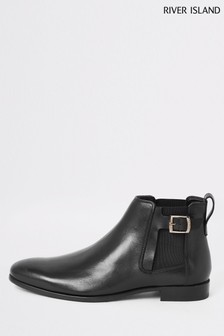 River Island Black Buckle Gusset Chelsea Boots