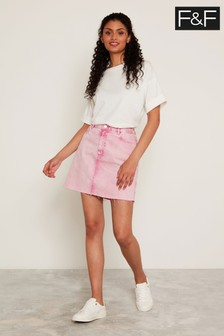 F&F Pink Fluro Denim Mini Skirt