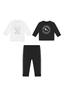Baby Boys Black Cotton Tracksuit Gift Set