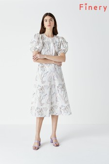 Finery White Marcilly Printed Puff Sleeve Dress