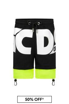 GCDS Mini Kids Black Cotton Shorts