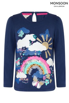 Monsoon Blue Rainbow Sequin T-Shirt
