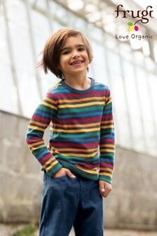 Frugi Organic Long Sleeve Top In Bright Rainbow Stripe