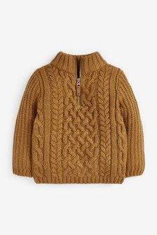 Cable Zip Neck Cosy Jumper (3mths-7yrs)