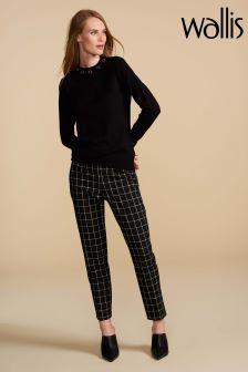 Wallis Petite Black Window Pane Check Trouser