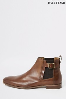 River Island Mid Brown Buckle Gusset Chelsea Boots