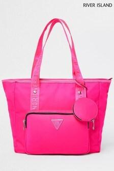 River Island Pink Cycle Nylon Shopper Bag