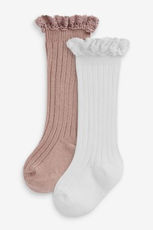 2 Pack Ruffle Knee High Socks (Younger)