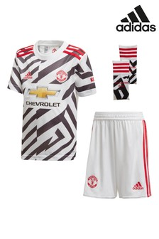 adidas White Manchester United Third 20/21 Mini Kit