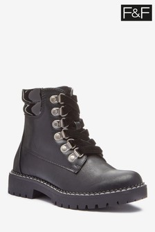 F&F Black Patent Collar Lace Up Boots