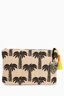 Palm Tree Print Clutch Bag