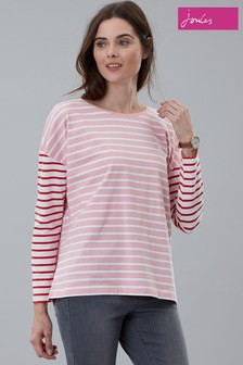 Joules Pink Marina Stripe Dropped Shoulder Jersey Top