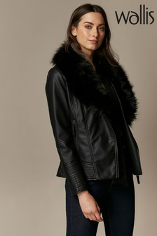 Wallis Black Faux Leather Fur Collar Jacket