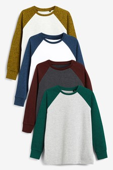 4 Pack Long Sleeve Textured Raglan T-Shirts (3-16yrs)