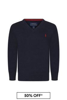 Ralph Lauren Kids Ralph Lauren Boys Navy Fine Cotton V-Neck Sweater