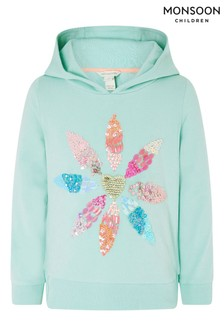 Monsoon Blue Embellished Flower Hoodie With Organic Cotton
