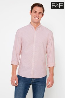 F&F Red Rolled Sleeve Oxford Shirt