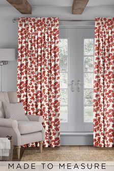 Floris Red Made To Measure Curtains