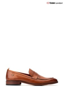 Base London® Tan Lens Washed Slip-On Loafers