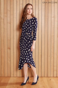 Gina Bacconi Blue Monisa Pearl Print Jersey Dress