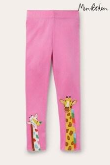 Boden Pink Fun Appliqué Leggings