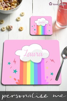 Personalised Rainbow Cloud Table Mat And Coaster Set by Loveabode