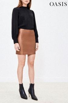 Oasis Faux Leather Metallic Mini Skirt