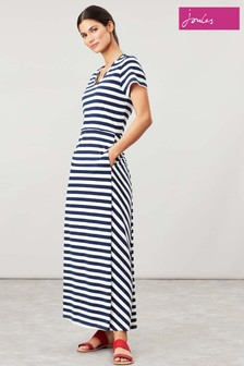Joules Blue Tessa V-Neck Jersey Maxi Dress