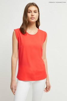 French Connection Red Crepe Light Cap Sleeve Top