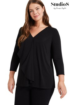 Studio 8 Black Grace Frill Top