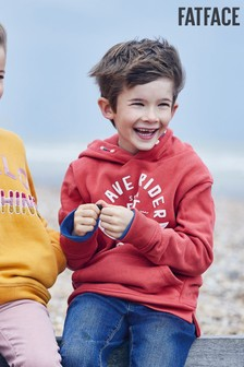 FatFace Red Graphic Pop Over Hoody Sweater
