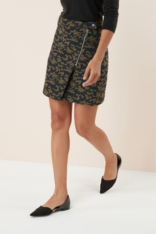 Camouflage Jacquard Mini Skirt