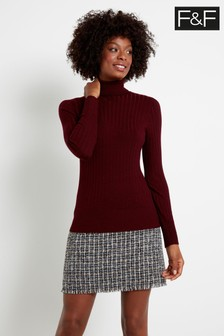 F&F Burgundy Rib Roll Oxblood Jumper