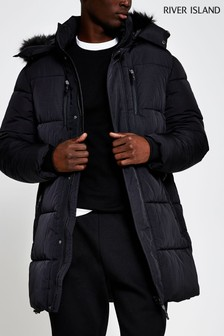 River Island Black Nylon Parka