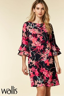 Wallis Vivid Oriental Double Flute Sleeve Dress