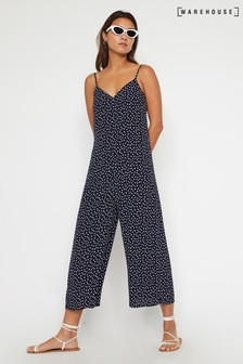Warehouse Blue Dash Dot Culotte Jumpsuit