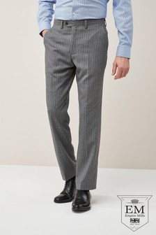 British Wool Striped Regular Fit Suit: Trousers
