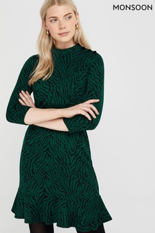 Monsoon Green Tiggy Tiger Jacquard Dress