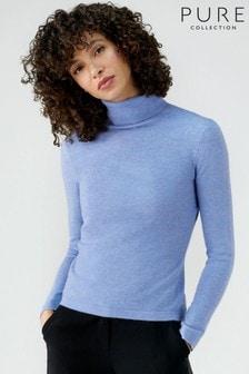 סוודר עם צווארון מתגלגל מקשמיר של Pure Collection בכחול