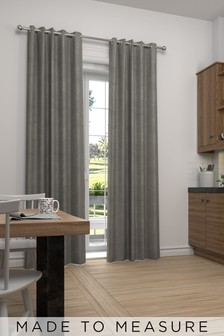 Made To Measure Silver Soft Velour Curtains