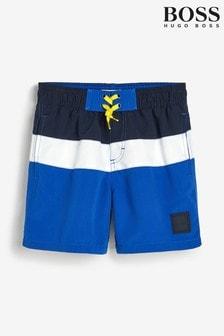 BOSS Black And Blue Stripe Swim Shorts
