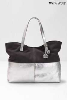 White Stuff Metallic Katy Suede Tote