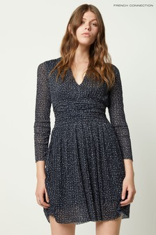 French Connection Tabia Print Pleated Jersey V-Neck Dress